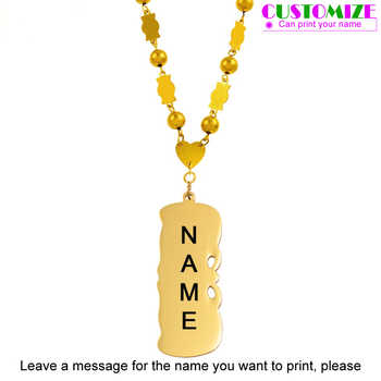Anniyo Personalized BLACK NAME Small Beads Chain Necklace Women Girls Marshall Jewelry Micronesia Customize Letters Name #069121 - DISCOUNT ITEM  0% OFF All Category