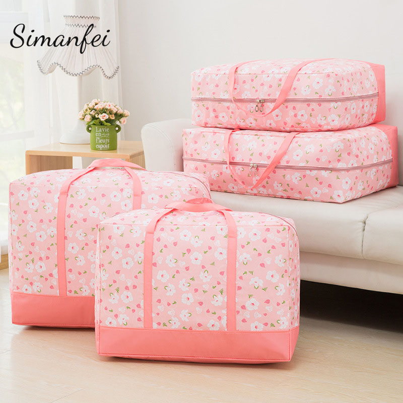 Simanfei Laundry storage bag 2018 New Design Waterproof Clothes arrangement Bedding Quilt Storage Bags Flower Folding Sort Bags