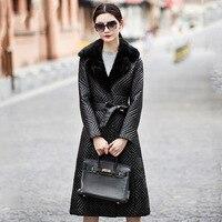Плюс 2018 осенне зимняя куртка Для женщин натуральная кожа Куртки Для женщин овчина Верхняя одежда Тонкий норки пальто с мехом овчины куртка