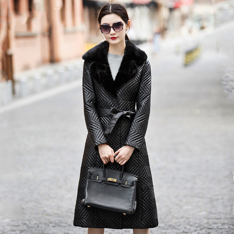Plus 2018 automne et hiver veste femmes véritable en cuir vestes Femmes de peau de mouton survêtement mince fourrure de vison manteau en peau de mouton veste
