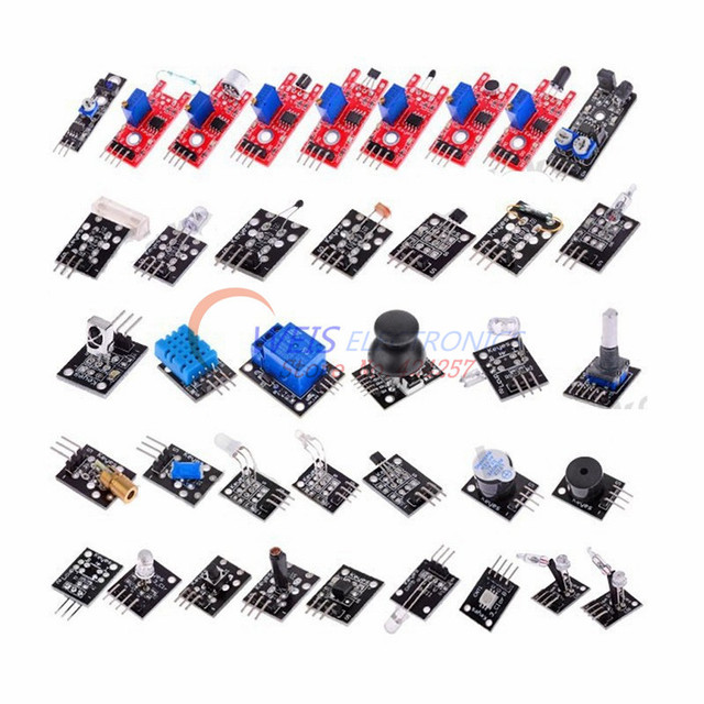 Free Shipping Helpful 37 in 1 For Starters Compatible Sensor Module Kit for arduino Vibration switch Flame Reed Hunt sensor kit