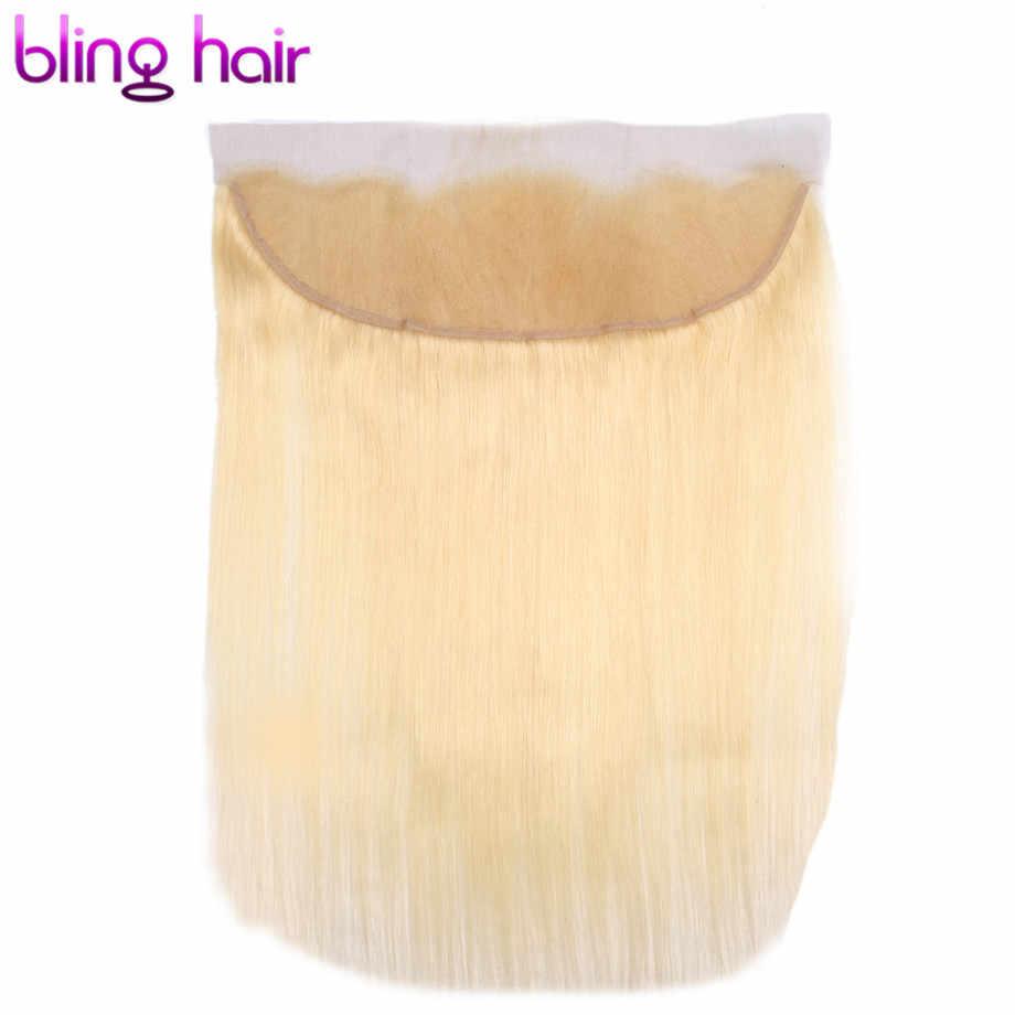 Cierre de cabello humano recto brasileño 13*4 encaje Frontal Medio/Libre/tres Partes con pelo de bebé 100% remy pelo rubio 1b/613 Color