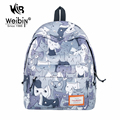 2017 AOU New Canvas Cute Cat Backpacks Women Bags Preppy School Bags For Teenagers Girls Casual Fresh Printing Backpack Mochila