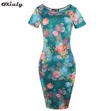 Oxiuly Women Print Tunic Pencil Dress 2017 Summer Sundress Ladies Elegant Office Wear Work Party Sheath Dresses Vestidos
