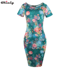 Oxiuly Women Print Tunic Pencil Dress 2017 Summer Sundress Ladies Elegant Office Wear Work Party Sheath Dresses Vestidos