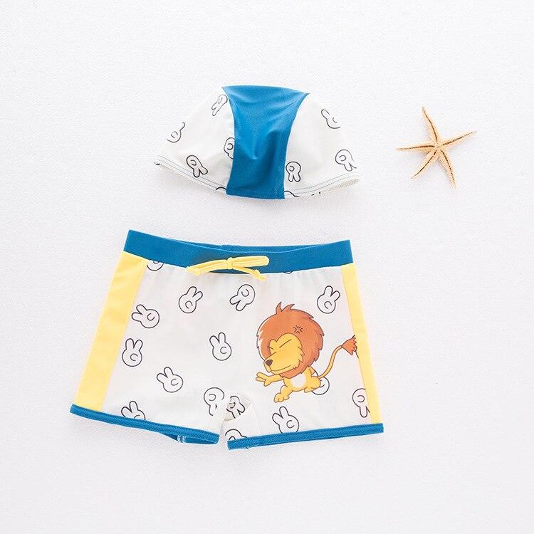 Boys Swimming Trunks Baby Boy Swimwear Kids Swimsuit Cartoon Swimwear Swimsuit Boys Bathing Suit Animal Lion Boxer Shorts +hat