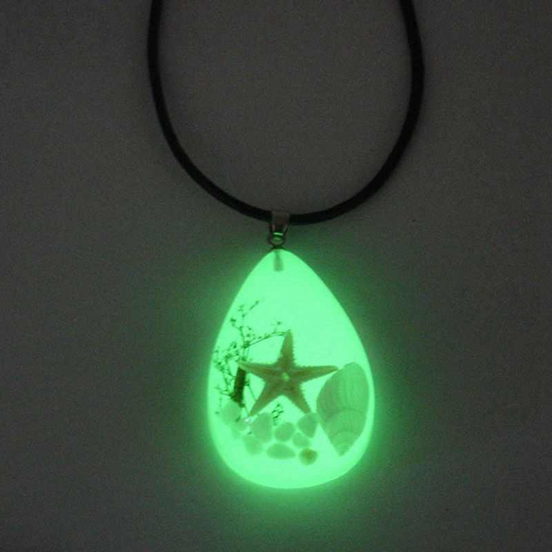1 PC Waterdrop naszyjnik muszla rozgwiazda wzór żywicy bursztynowy wisiorek naszyjnik fluorescencji w ciemności kreatywnych moda biżuteria