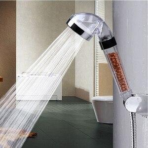 Image 2 - Cabezal de ducha de alta calidad para baño, alcachofa de ducha de alta presión con bolas de filtro de ahorro de agua, cabezal de utilidad con iones negativos activados