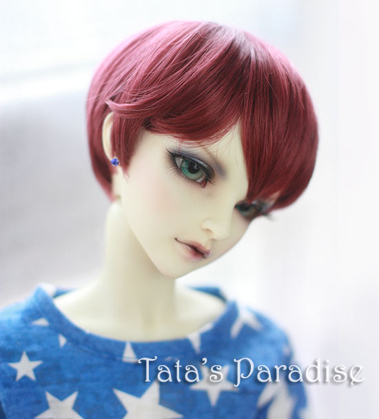 NEW !!  22-24cm red wine colour short  nature curly  hair  doll  DIY High-Temperature Wire for 1/3 DD  BJD SD dollfie new 1 4 8 9 inch bjd wig short hair doll diy high temperature wire for 1 4 msd bjd sd dollfie