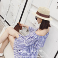 Han edition new spring and summer of brown double M standard hollow out seaside resort straw hat Sir Ms sun hat cap cap