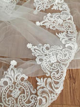 one yard Exquisite heavily beaded alencon lace trim in ivory Victoria vintage style bridal veil by 22 cm