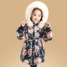 купить Thicken Long-Style Winter Warm Child Coat Windproof Waterproof Baby Girls Jackets Children Outerwear For 3-14 Years Old онлайн