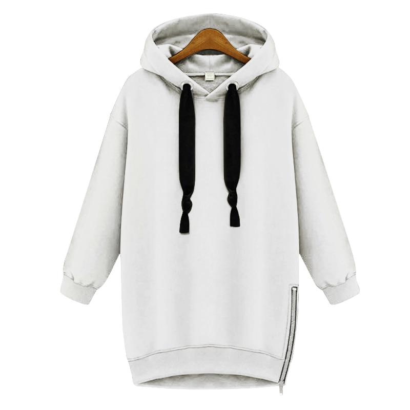 866ba7ce80b Winter Hooded Jacket Women Baggy Hoodies Sweatshirt Zipper Side Slit Velvet  Oversized Military Tracksuit Top Sports Pullover-in Hoodies   Sweatshirts  from ...