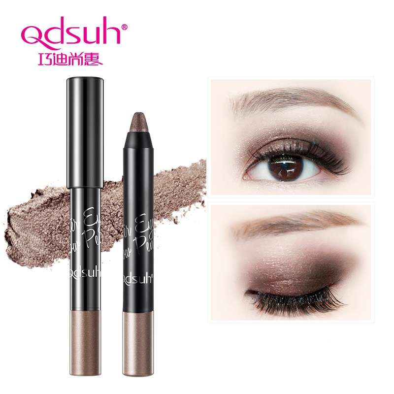 Qdsuh Luster Eye Shadow Pencil Pallete 3colors Professional Pen Highlights Natural Long Lasting Fashion Brown Grey