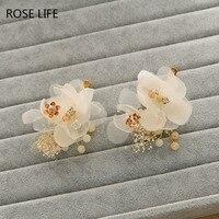 ROSELIFE New Bride Hair Accessories Fashion Elegant Charming Hand Made Petal Flower Pearl Silk Band Bridal Headband Wedding Hair