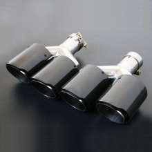1 Pair Glossy Carbon Fiber Dual Exhaust Pipe Tail Muffler Tip Left+Right  Inner Diameter 63MM Outlet 89mm