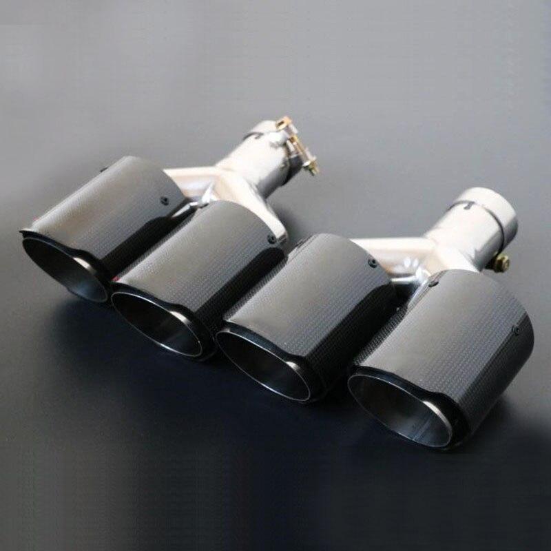 1 paire fibre de carbone brillant double tuyau d'échappement queue silencieux pointe gauche + droite diamètre intérieur 63 MM pointe sortie diamètre 89mm