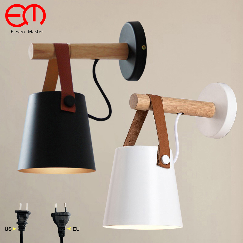 Led Wall Sconces Lamps With Plug Living Room E27 Nordic Wooden Belt Wall Mounted Light Bedside Lamp Bedroom Zbd0016