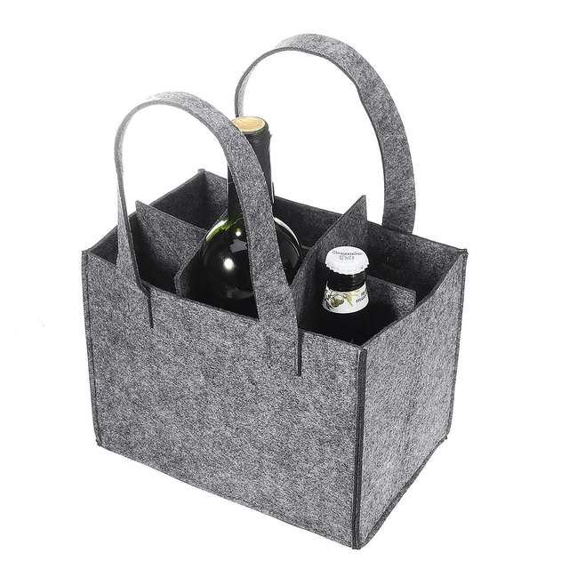 Reusable Fashion Felt Bag Wine Holder Beer Bottle Shopping Tote Bag Bottle Carrier with 6 Bottles Divider Washable Grey 1