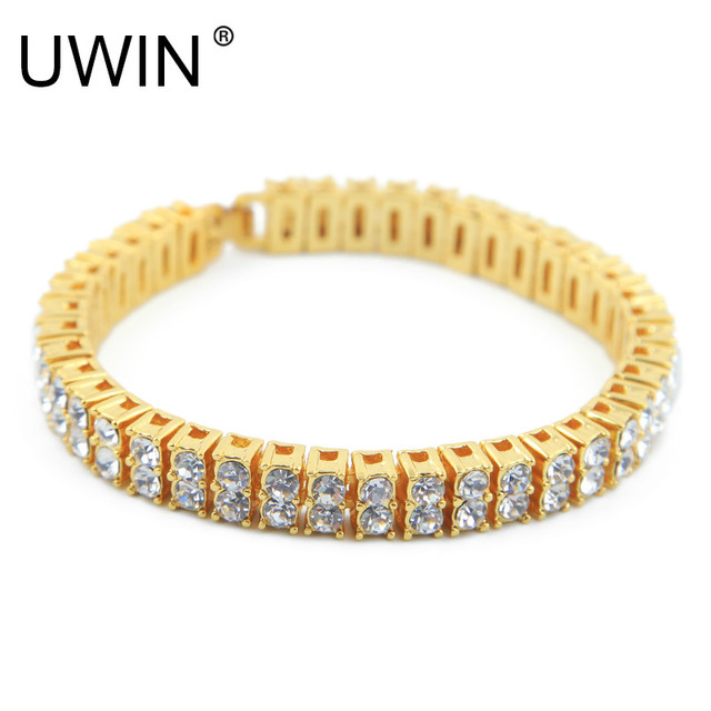 UWIN Hip hop Men Bracelet Silver/Gold Color Iced Out 2 Row Rhinestones Bracelet Chain Clear Crystal Bracelet Bangle Jewelry 20cm