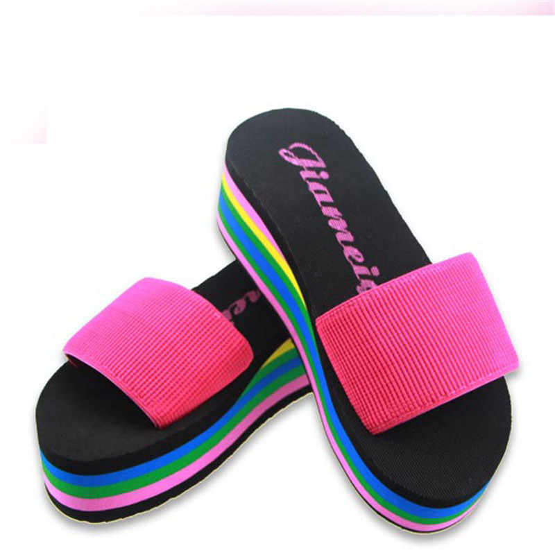 643707a5977d ... Designer Wedges Slippers Women Platform Sandals Wedge Slippers Slides  Rainbow Summer Thick Heel Ladies Shoes ...
