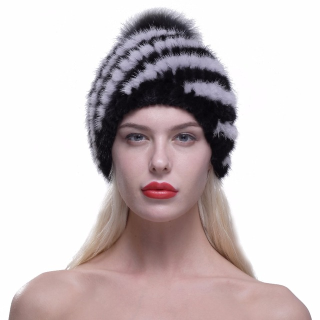 URSFUR Mink fur hat Women Winter Knit Mink Fur Beanie Cap with Fox Pom Pom Pineapple fur hat Female with Lining Multicolor