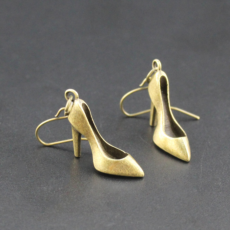 2017 Newest Fashion Accessories Bronze Plated High Heels Dangle Earring Gift for Girl s Wholesale