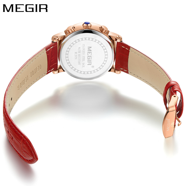 2018 New Megir Luxury Brand Fashion Ladies Watch Chronograph Sport Dress Rose Gold Quartz Wristwatch Red Leather Women Watches