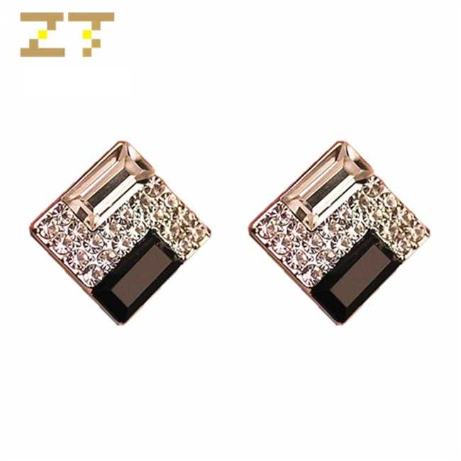Hot Sale Fashion Elegant Bridal Wedding Luxury Black White Square Crystal Unique Stud Earring for Women Jewelry Brinco Oorbellen