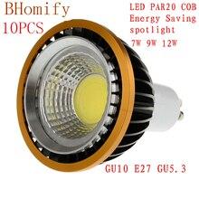 цена на LED Spotlights COB spot PAR20 Bulb 220V110V dimmable GU10 GU53 E27 7W 9W 12W bulb LED P20 Lamps Warm/Pure/Cold White Spot light