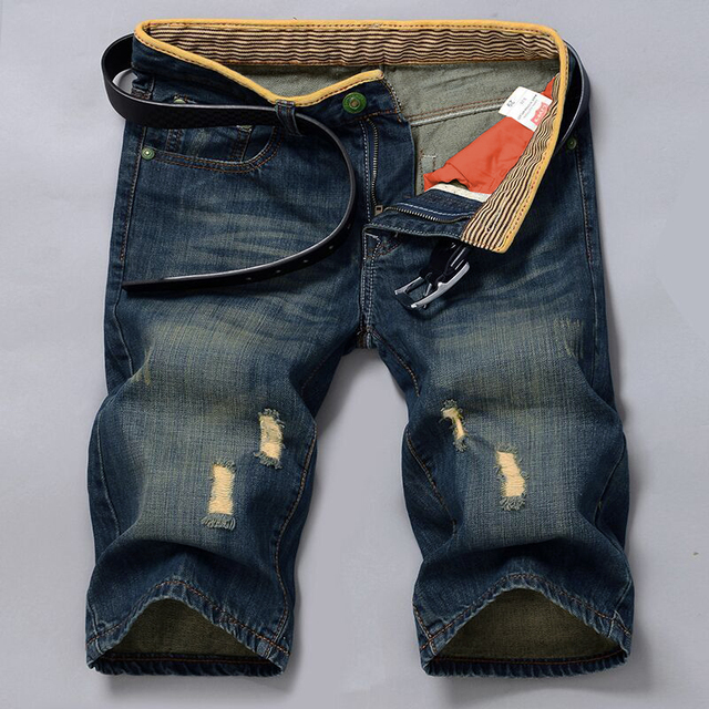 96180655107c Thoshine Brand Summer Men Hole Jeans Male Denim Shorts Adult Vintage Half  Length Pants Slim Pop