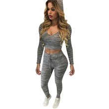 Autumn Women Tracksuit Hoodies Sweats Gray Sweatshirt Pants Sets Casual Clothing Bare Navel Wear Casual Suit Y63