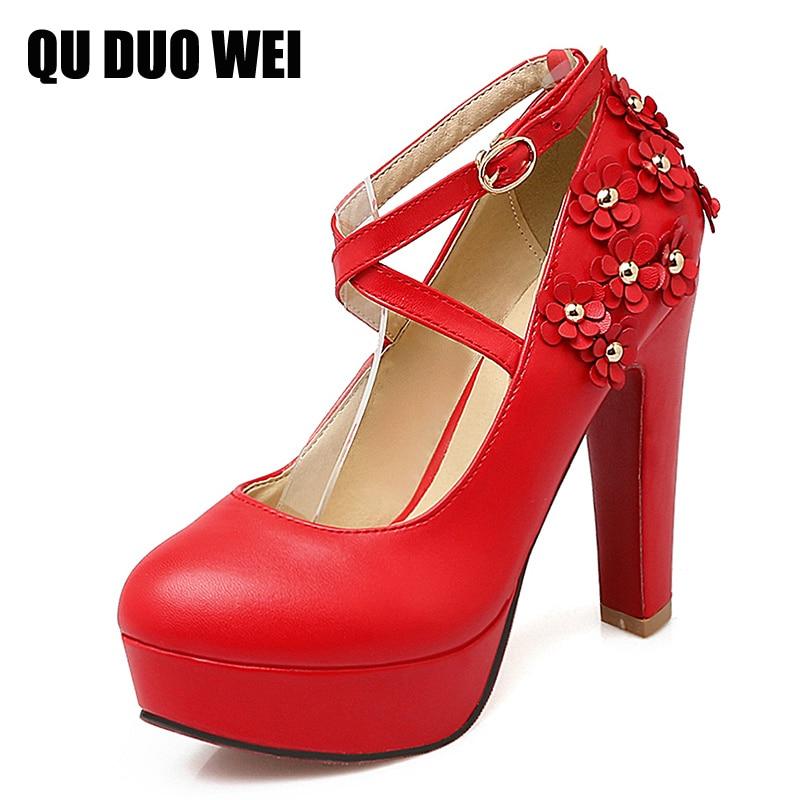 ФОТО Plus Size 35-43 Fashion Flower Applique Women Pumps Sexy High-Heeled Shoes Cross Strap Women's Wedding Shoes