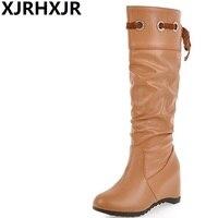 XJRHXJR אופנה מכירה חמה חדש מגיע נשים מגפיים שחור לבן בראון להחליק על סתיו חורף גבירותיי מגפי ברך עקב נמוך מגפיים גבוהים