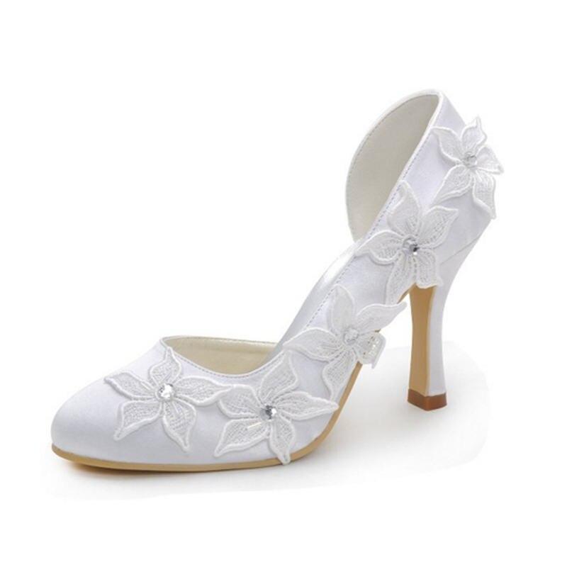 ФОТО Tacones De Boda Women's Round Toe Wedding Party Flower Lace Super High Heels Bridal Bridesmaid's Side Open Pumps 7090-10 ZHL