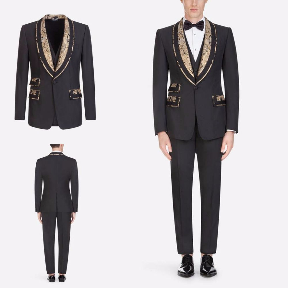 Prom Dinner Tuxedos For Mens Wedding Groom Jacquard Lapel Party 3 Piece Suits