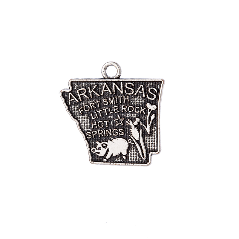 30Pcs /Lots Double side Arkansas State Map Dangle Charms DIY for Bracelet&Necklace Jewelry Wholesale