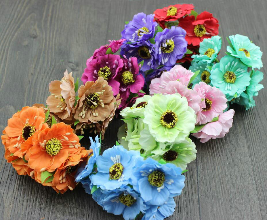 buy 9 bunches poppies flower artificial silk poppy bouquet wedding bouquets. Black Bedroom Furniture Sets. Home Design Ideas