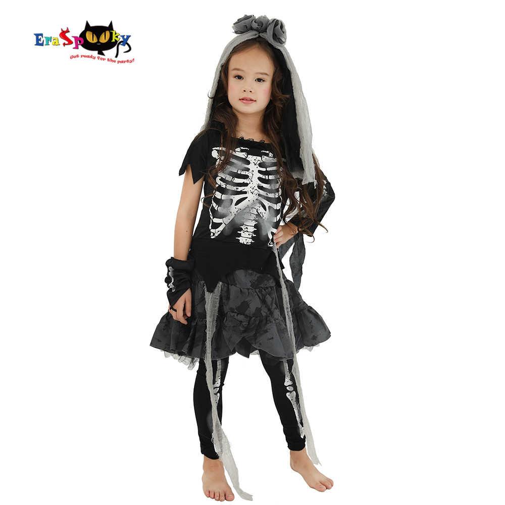 Eraspooky ฮาโลวีนเครื่องแต่งกายสำหรับเด็กน่ากลัวโครงกระดูกผีดิบสาวเด็กผี Carnival PARTY COSPLAY Headpiece ชุดแฟนซี