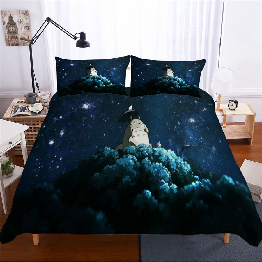 HELENGILI 3D Bedding Set Totoro Campus Badge Print Duvet Cover Set Bedcloth With Pillowcase Bed Set Home Textiles #LM-05