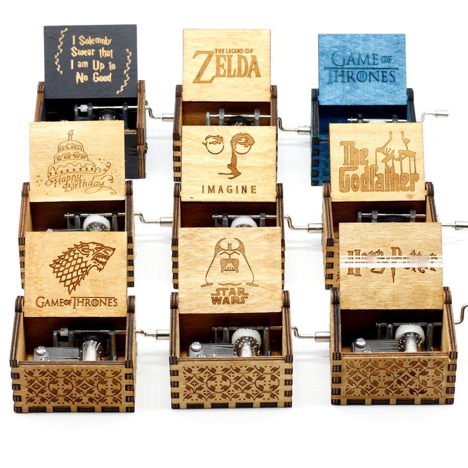 Antico Incisione Star Wars Game Trono di Music Box Zelda Castle In The Sky A Manovella A Mano Di Natale A Tema Caixa De Musica