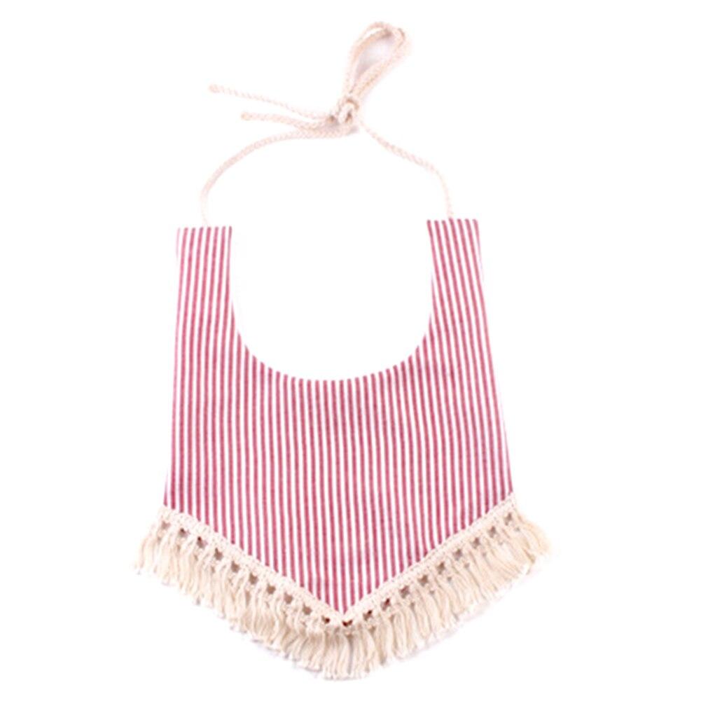 Colorful Newborn Unisex Baby Soft Bibs Burp Cloths Lovely Striped Tassels Feeding Baby Bibs