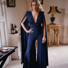 de57f04d63c7 Hytrade 2018 New Arrival Women Solid Dark Blue Plunge Chiffon Long Cape  Sleeve Sexy Deep V