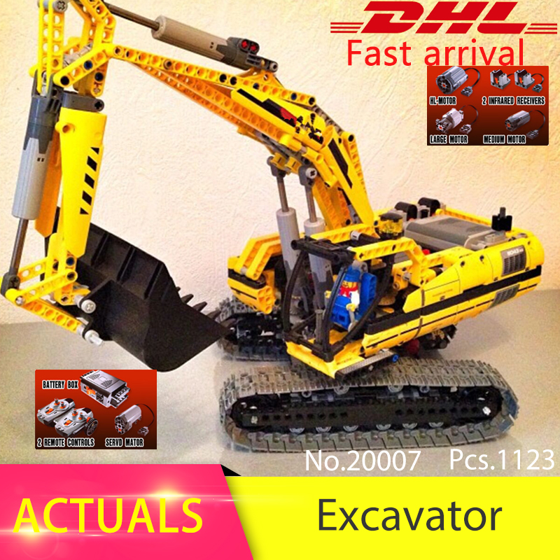 LEPIN 20007 1123pcs Technic series Motor Excavator Model Building Blocks Bricks Toys For Children Compatible 8043 Boys Gift lepin 02070 492pcs city series coast guard model building blocks bricks toys for children gift