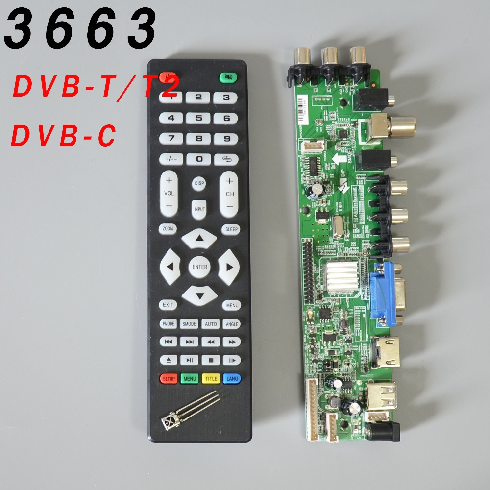 Ship in 1 day DS.D3663LUA.A81.2.PA V56 V59 Universal LCD Driver Board Support DVB-T2 Universal TV Board 3663