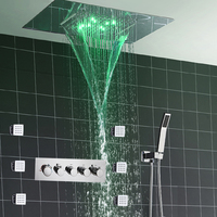 Modern Shower Faucets Set Ceiling Recessed LED Rain Shower Set Waterfall Massage Shower Panel Body Shower Jets Bathroom Bath Set