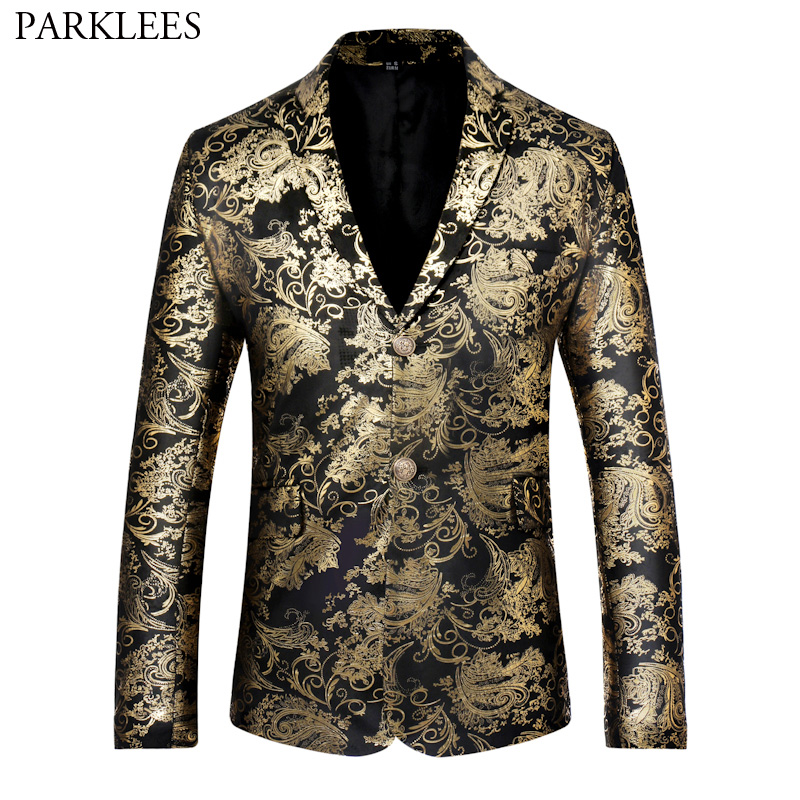 Luxury Gold Print Blazer Men Paisley Blazer Hombre Brand Casual Long Sleeve Slim Fit Mens Blazers Single Breasted Suit Jakcet