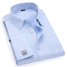 Boutons de manchette, chemise daffaires à manches longues, tenue daffaires, sergé blanc et bleu, taille asiatique M, L, XL, XXL, 3XL, 4XL, 5XL, 6XL