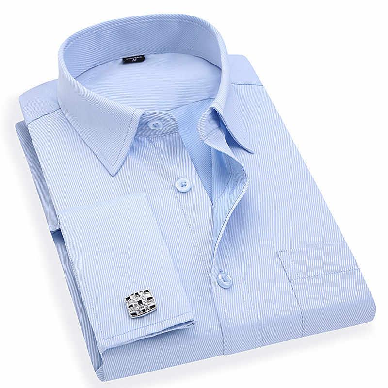 男性のフレンチカフスビジネスドレスシャツ長袖白ブルーツイルアジアサイズ M 、 L 、 XL 、 XXL 、 3XL 、 4XL 、 5XL 、 6XL