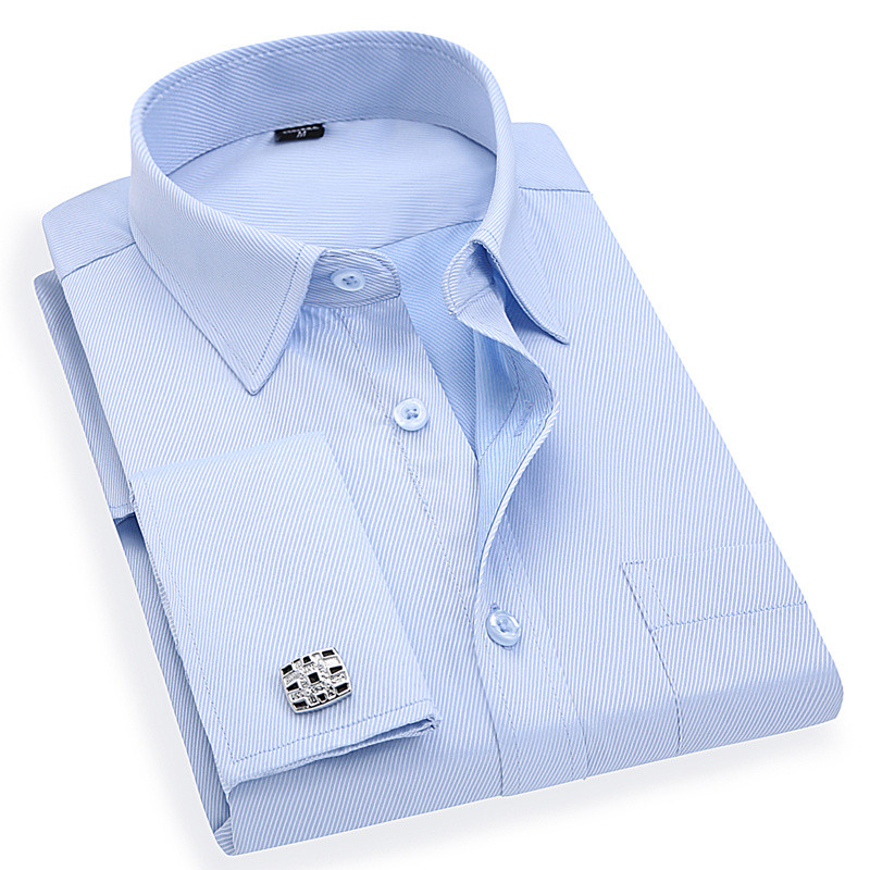 Men 's French Cufflinks Business Dress Shirts Long Sleeves White Blue Twill Asian Size M, L, XL, XXL, 3XL, 4XL, 5XL, 6XL